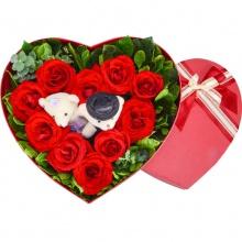 ww佳期如梦——10支精品红玫瑰+2只可爱小熊