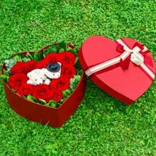 佳期如梦——10支精品红玫瑰+2只可爱小熊