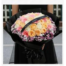 捧在手心的爱——33支精品混色玫瑰