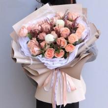 花间笑颜——33支精品粉玫瑰