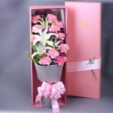 无私的爱——11支精品粉色康乃馨