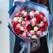 情书——33支精品混色玫瑰