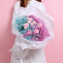 你最珍贵——6朵粉玫瑰+彩色满天星混搭