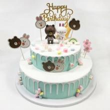 青春之歌——圆形双层奶油生日蛋糕