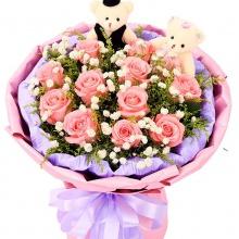 牵手的幸福——11支精品粉玫瑰
